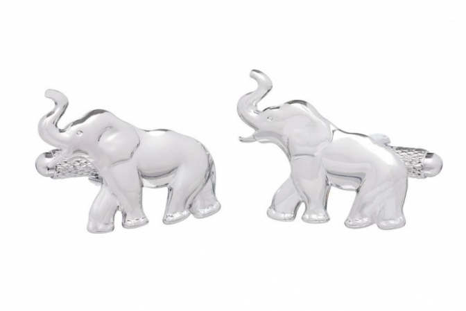 Elephant Cufflinks with Raised Trunk